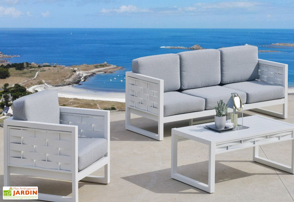 salon de jardin en aluminium auxana 1 canape 2 fauteuils et 1 table basse