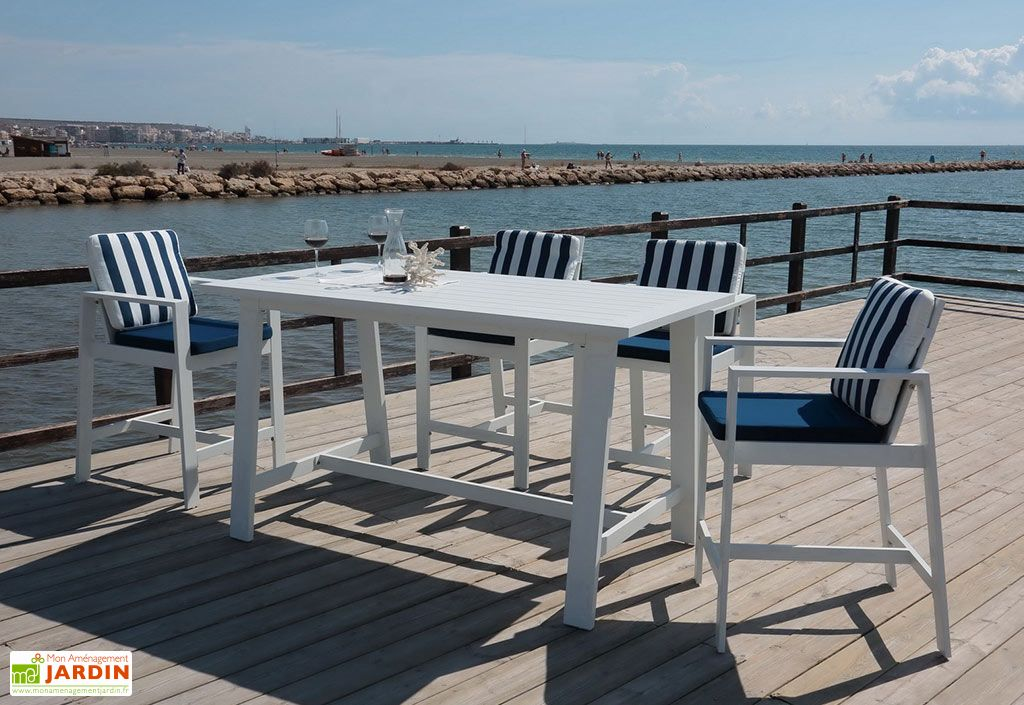 Salon de Jardin en Aluminium Blanc Hevea : 4 Fauteuils et 1 Table Haute