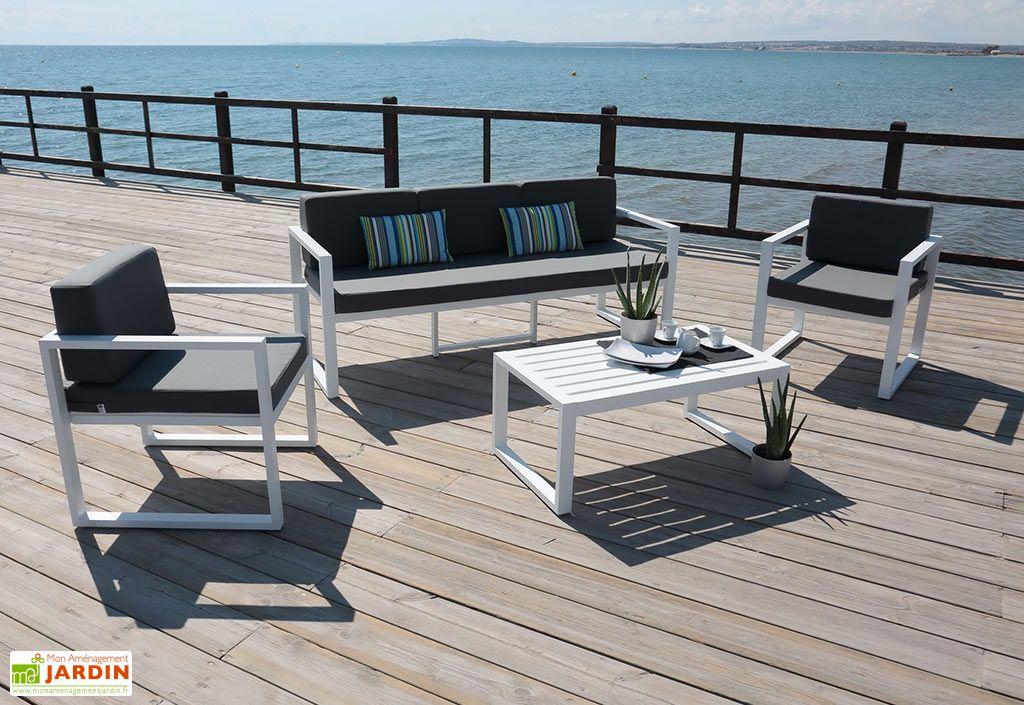 Salon de jardin en aluminium 4 pièces blanc