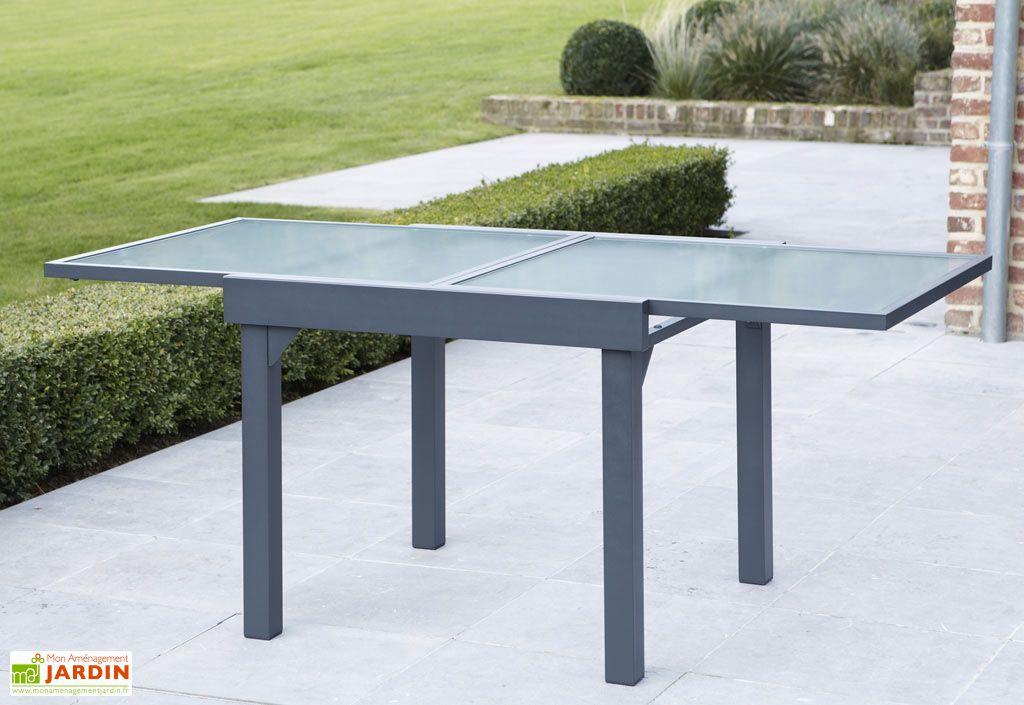 Salon de Jardin Modulo : Table Extensible + 4 Fauteuils Gris