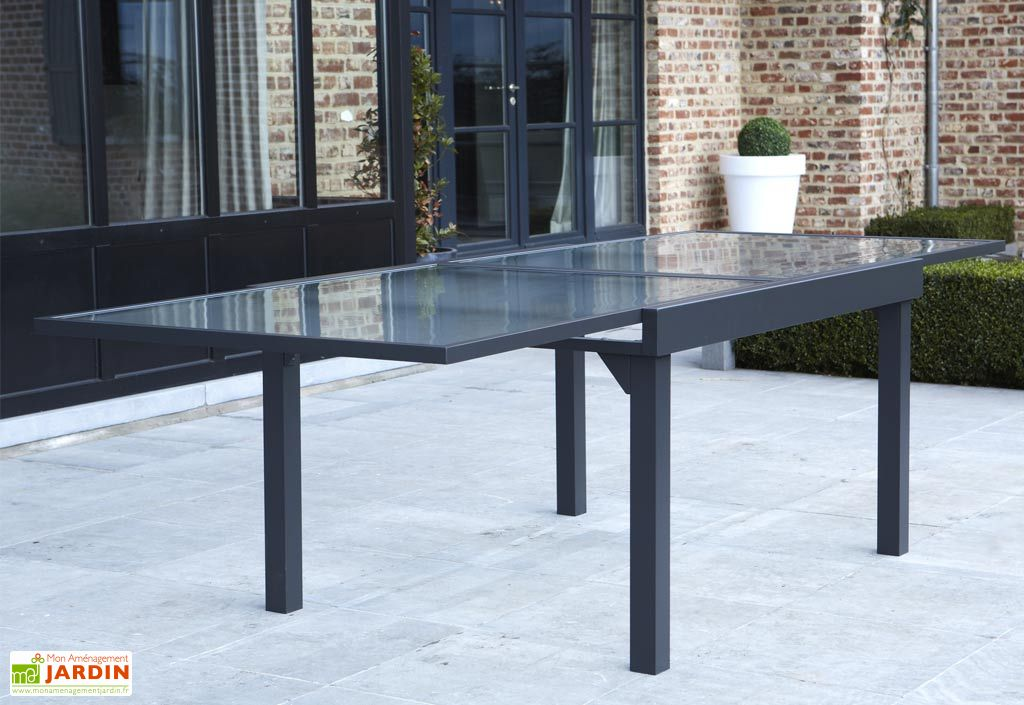 Salon de Jardin Modulo : Table Extensible + 6 Fauteuils Gris