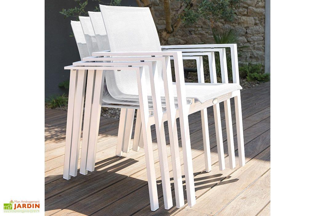 Salon de jardin Mykonos en Aluminium Blanc : 1 Table + 6Fts - DCB Garden