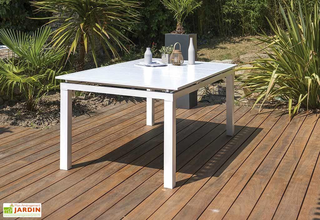Salon de jardin Mykonos en Aluminium Blanc : 1 Table + 6Fts