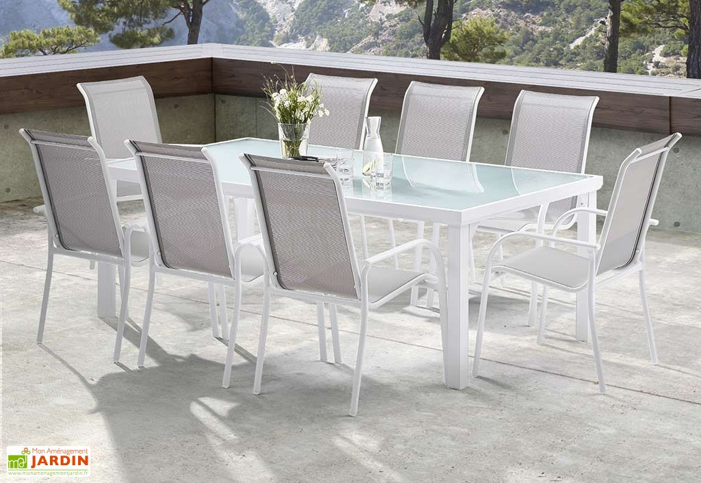 Salon de Jardin Whitesun : Table + 8 Fauteuils Blanc / Gris