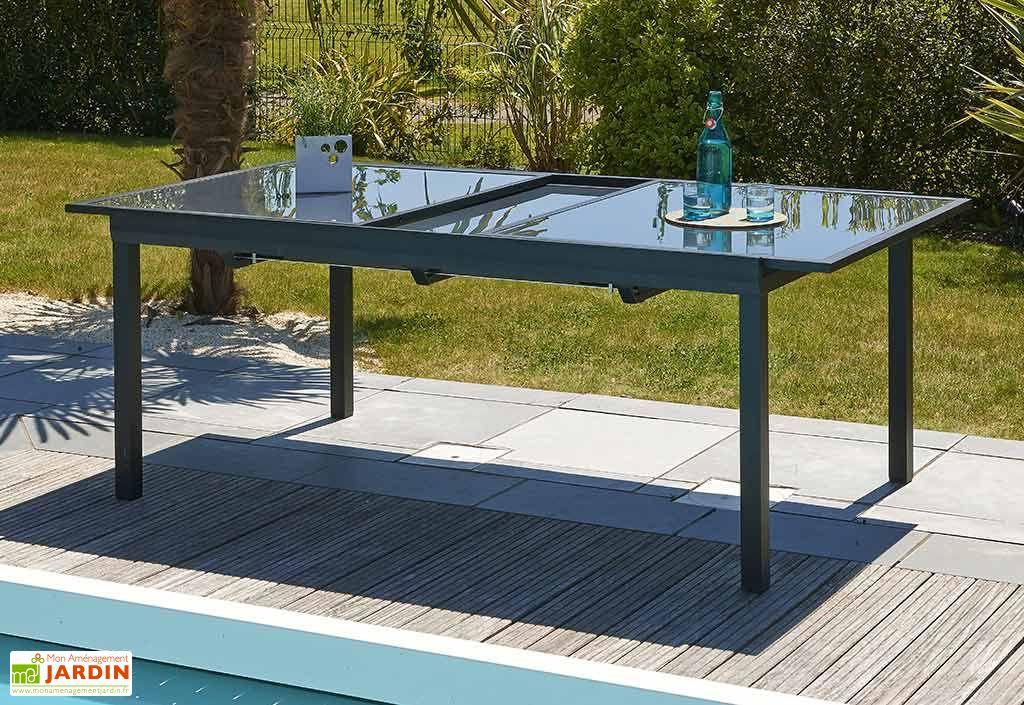 Salon de Jardin Miami en Verre Table 240 cm + 6 Chaises - DCB Garden