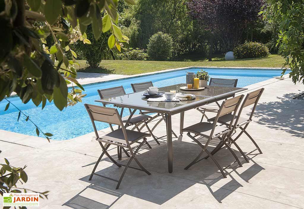 Salon de jardin cappuccino en verre table 240 cm 6 chaises dcb garden - Salon de jardin en verre ...