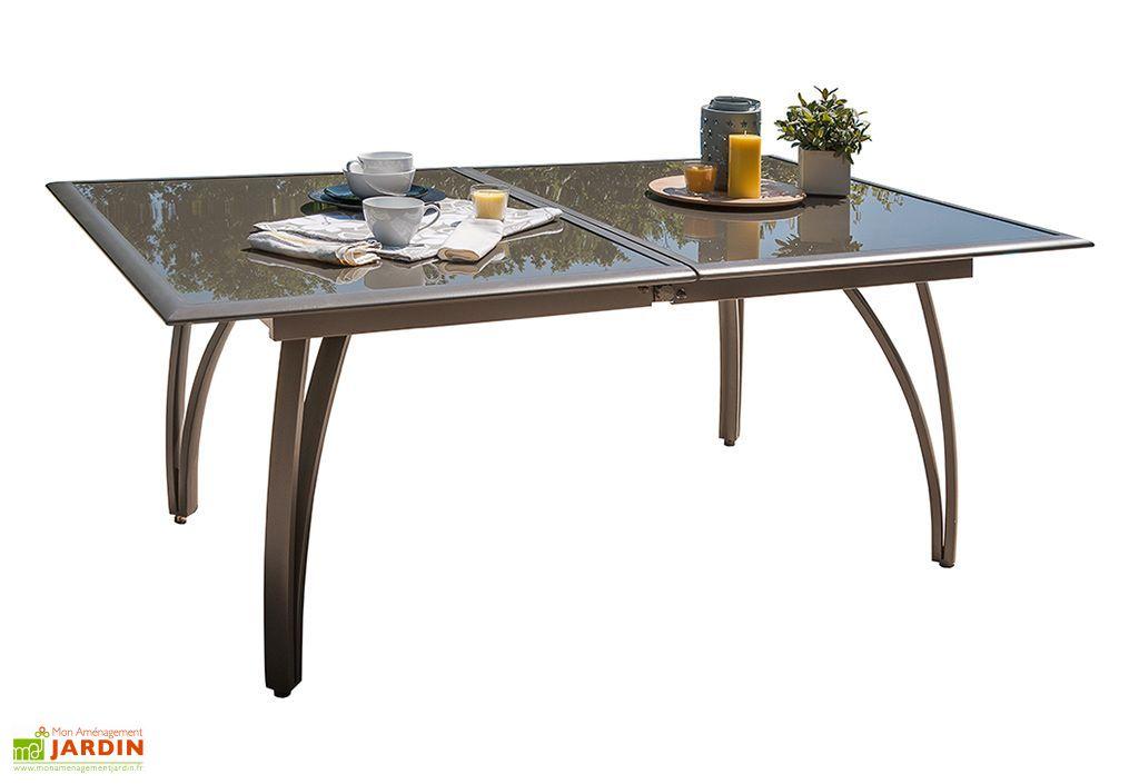 Salon de Jardin Cappuccino en Verre Table 240 cm + 6 Chaises