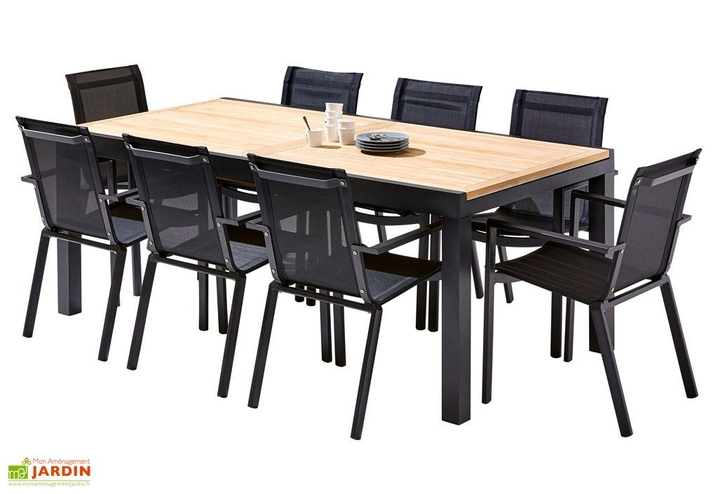 Salon de Jardin Bali Aluminium et Teck : Table Extensible + 8 Fauteuils