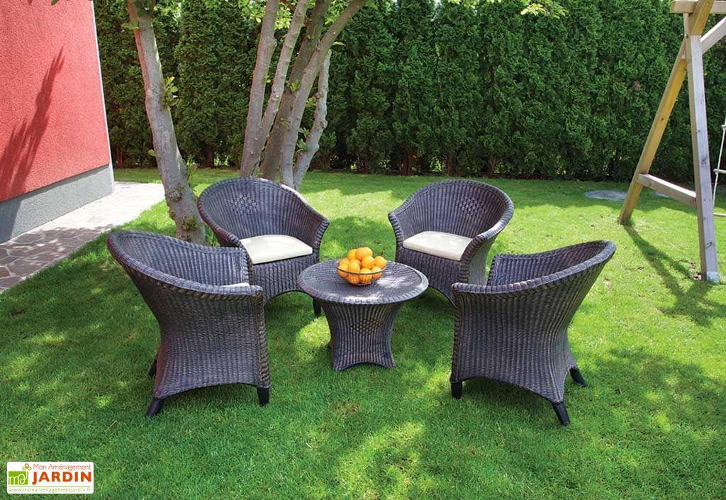 Salon de Jardin en Résine Tressée Marron : 1 Table Basse + 4 ...