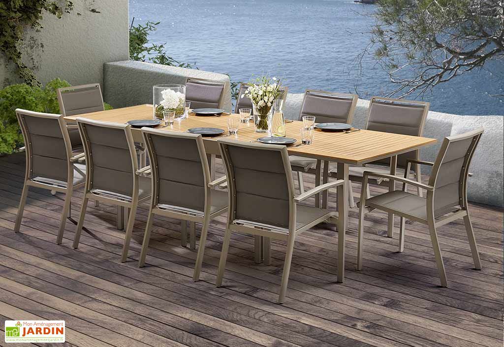 Salon De Jardin Modulo Table Extensible En Polywood 10 Fauteuils