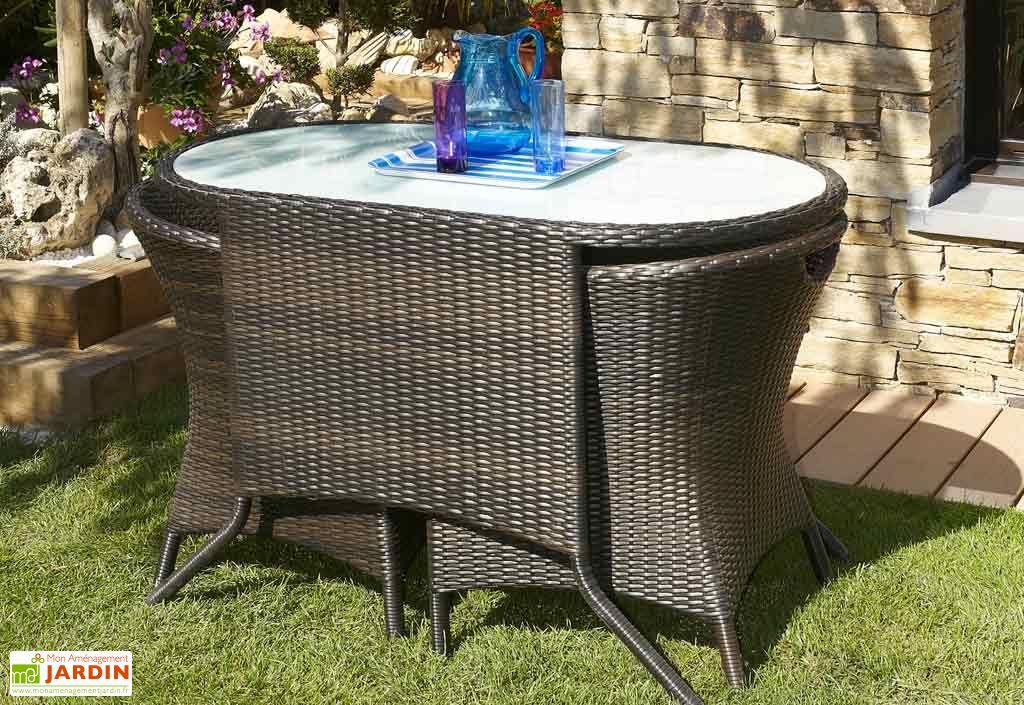 salon jardin encastrable r sine tress e 2 places chocolat dcb garden. Black Bedroom Furniture Sets. Home Design Ideas