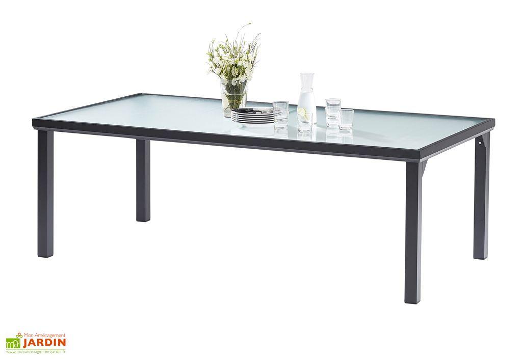 Table de Jardin en Aluminium avec Plateau en Verre Trempé BlackSun