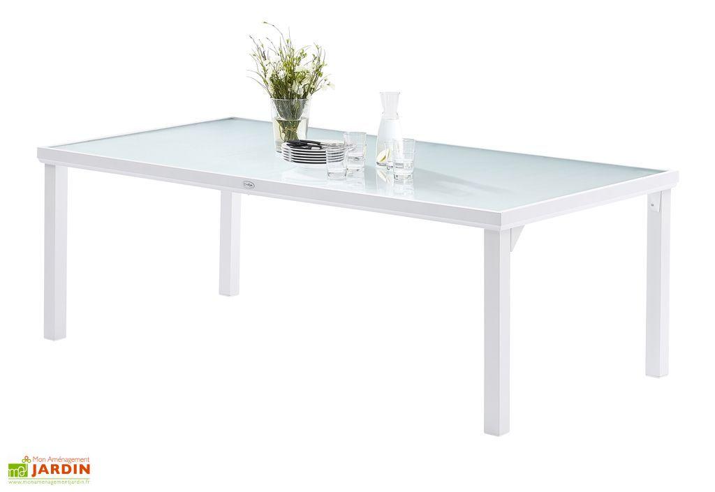 Salon de Jardin WhiteSun en Alu et Verre Trempé : Table + 8 Fauteuils