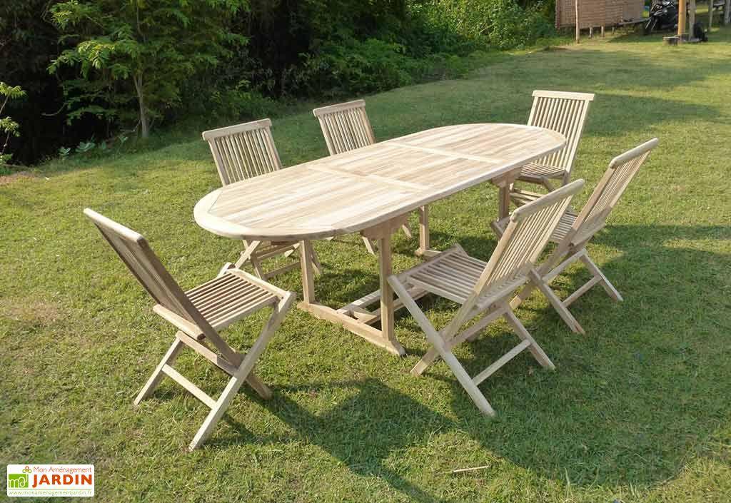 table + 6 chaises de jardin en teck avec rallonge