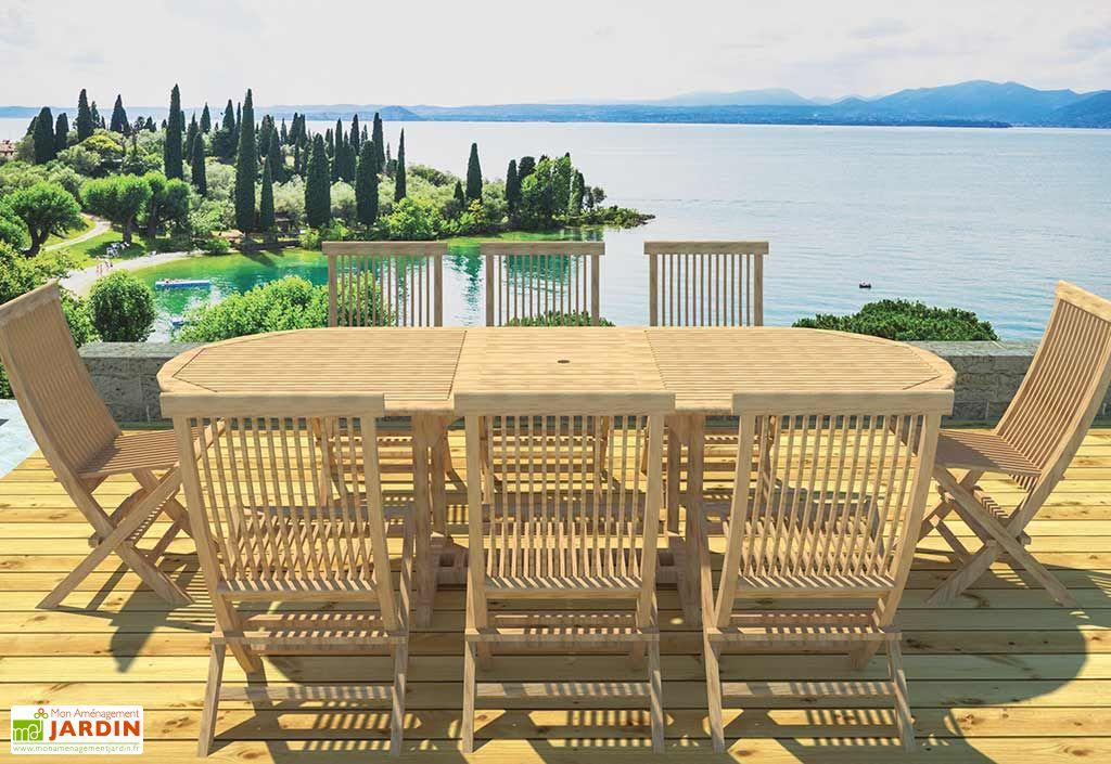 Salon de Jardin Teck - Table Ovale 180/240 cm + 8 Chaises Pliantes ...