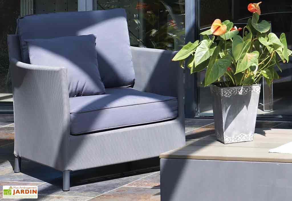 salon de jardin en textil ne gris galet riade 4 places dcb garden. Black Bedroom Furniture Sets. Home Design Ideas