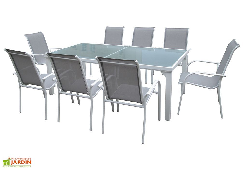 Table de Jardin Whitesun en Aluminium et Verre 210 x 105 x 72 cm - Wilsa