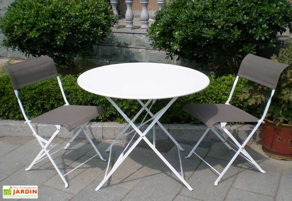 Table Pliante Ronde Cytadine + 4 Chaises Textilène