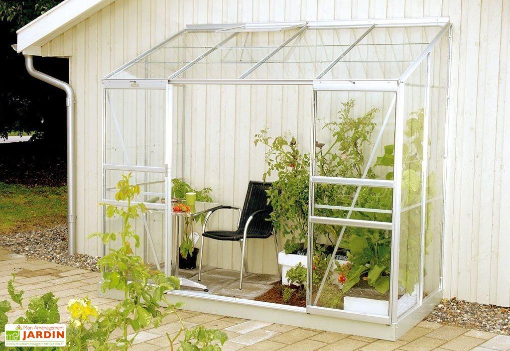 Serre de Jardin Adossée en Aluminium Anodisé IDA 3300 avec Base