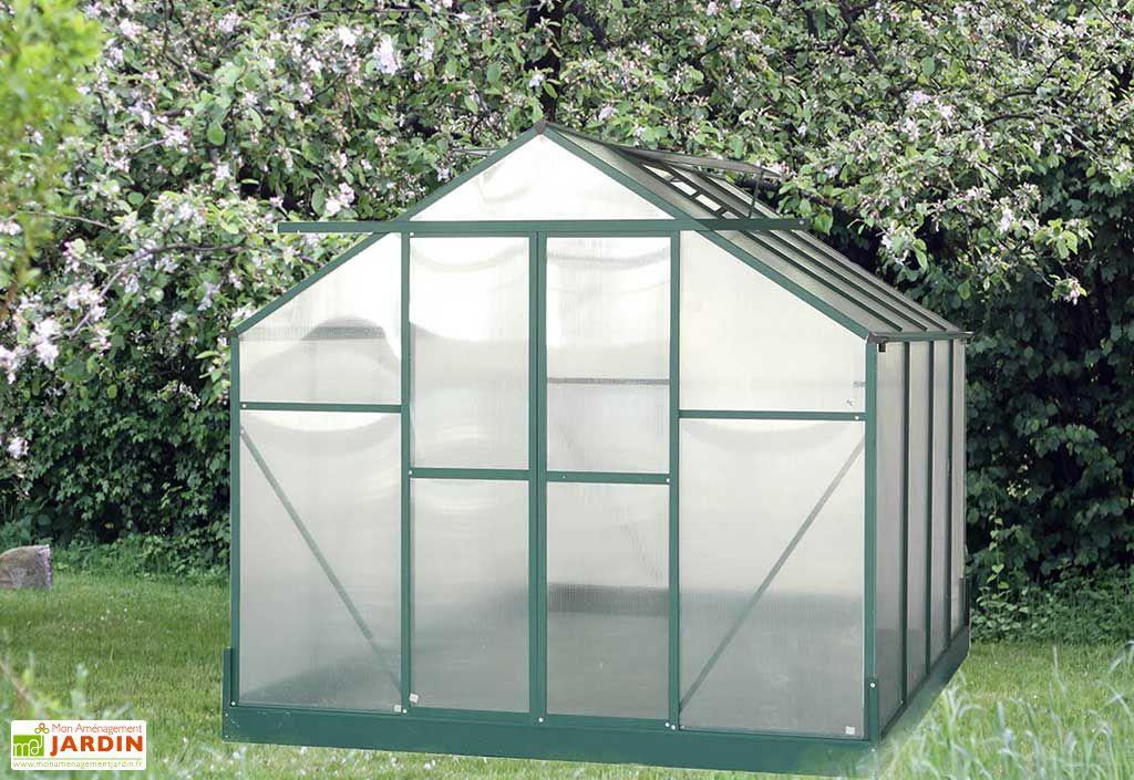 serre de jardin polycarbonate 7 56m avec base 2 lucarnes habrita. Black Bedroom Furniture Sets. Home Design Ideas