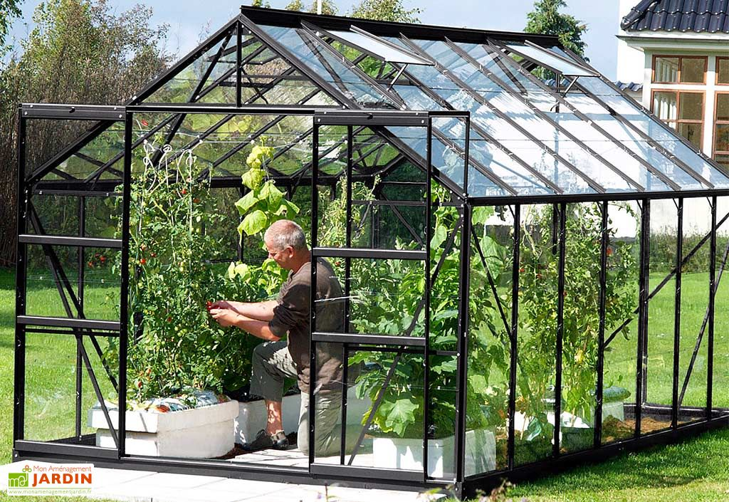Serre de jardin en aluminium gris anthracite et verre trempé Laurus 11500 Lams