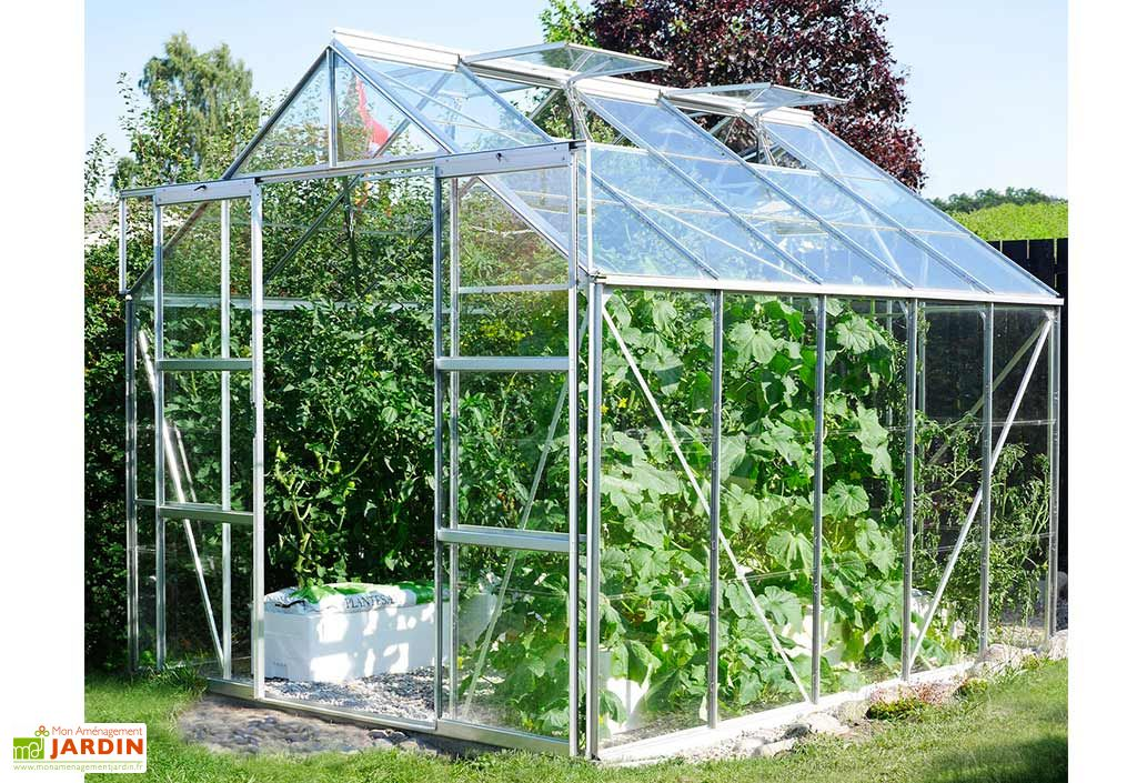 Serre de jardin en verre trempé et aluminium Lams Laurus Uranus 8300