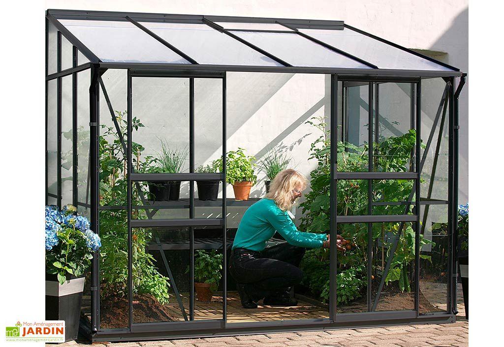 Serre de jardin adossée en aluminium et verre trempé 3 mm Melissa 5200 Lams