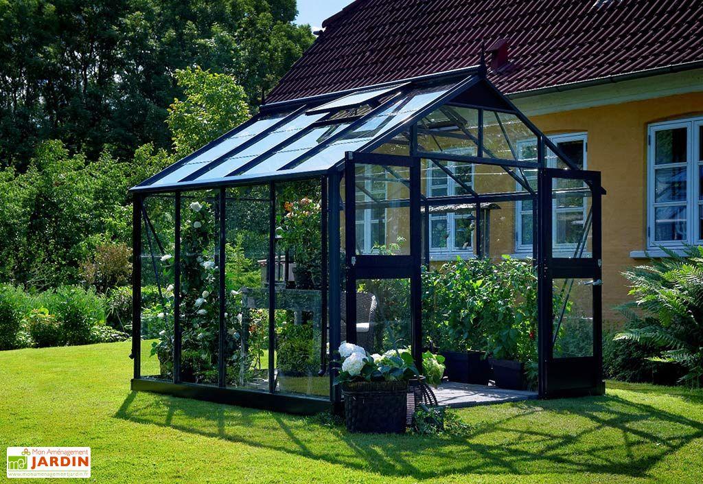Serre de jardin en aluminium gris et verre trempé 3 mm Juliana Premium 9 m²