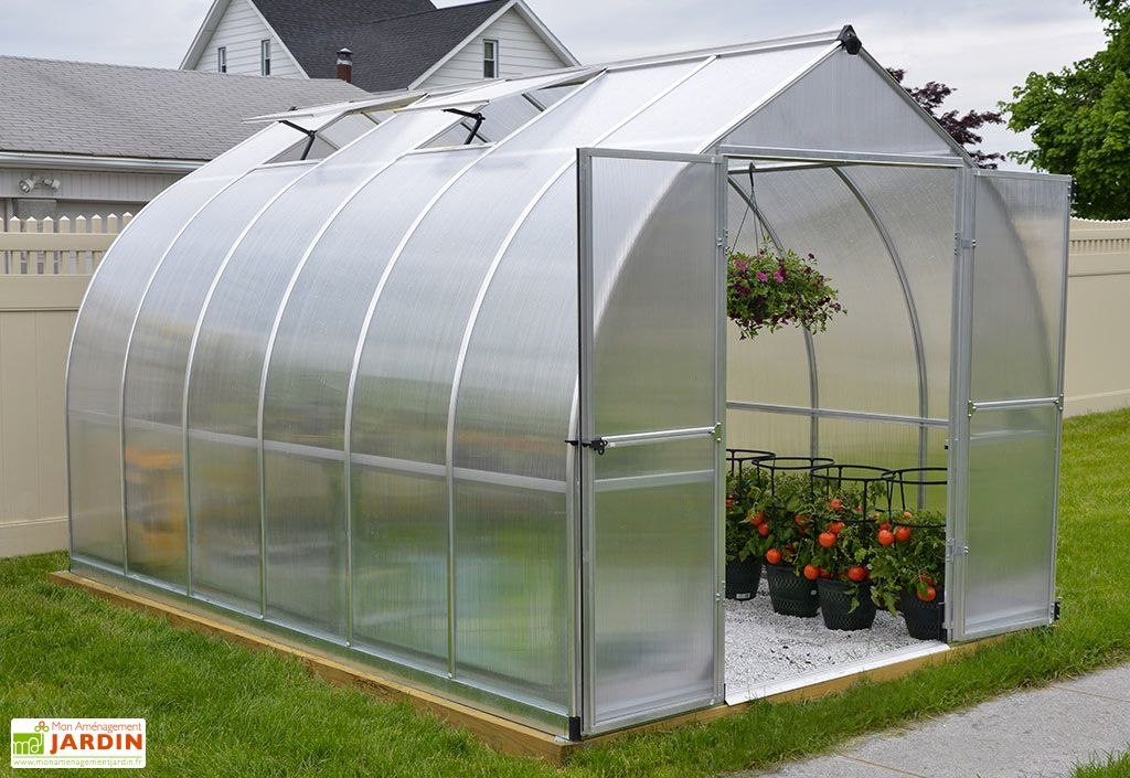 Serre de Jardin en Aluminium et Polycarbonate Bella 8,9 m² Ouverte