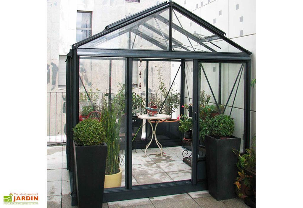 Serre en Verre Structure Aluminium Lams Luxia 9 m² Noir