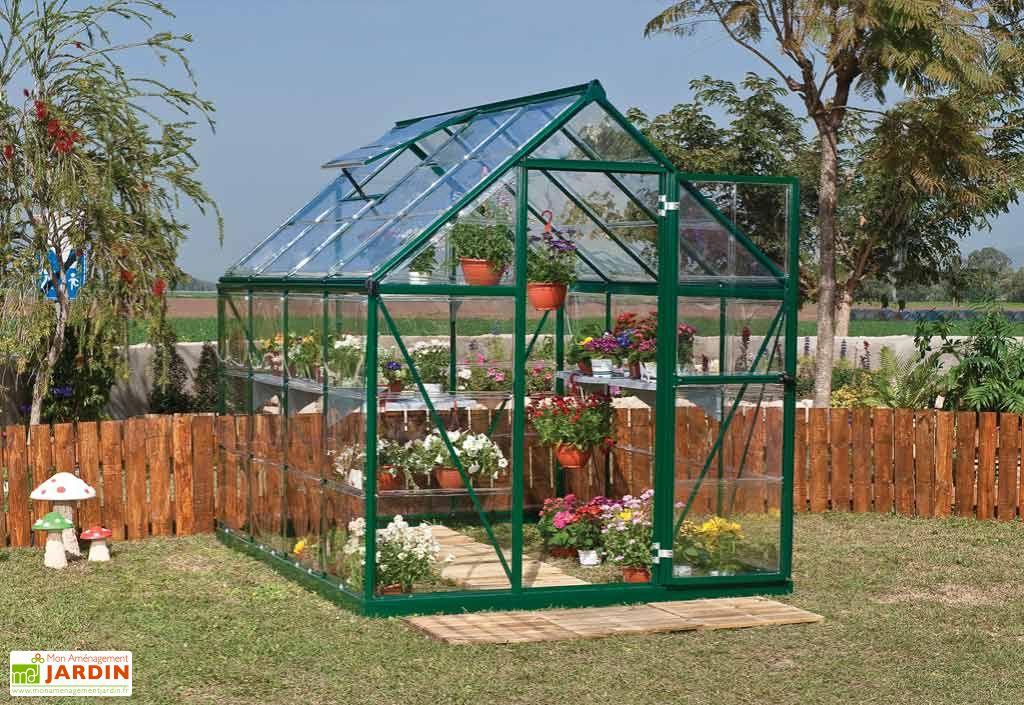 Serre de jardin polycarbonate harmony green 4 6m palram for Prix d une serre