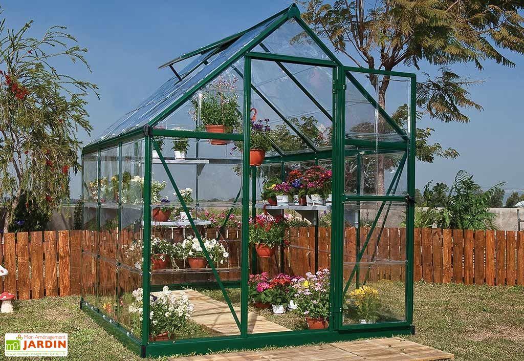Serre de jardin verte en aluminium et polycarbonate transparent 2 x 2 m