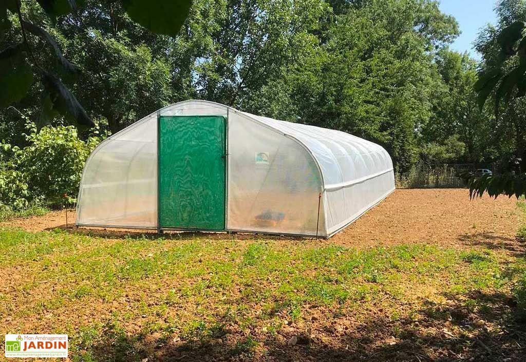 Serre tunnel Tonneau serre de jardin en acier galvanisé et polyéthylène