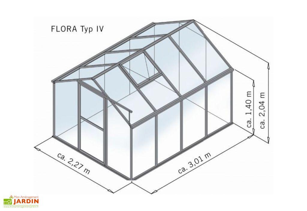 Serre de Jardin Polycarbonate 6mm 301x227x204cm Flora IV