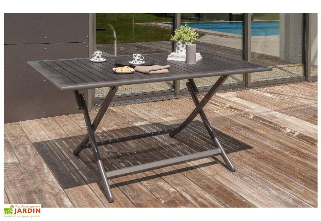 salon de jardin miami pliant en aluminium table 140 cm 4. Black Bedroom Furniture Sets. Home Design Ideas