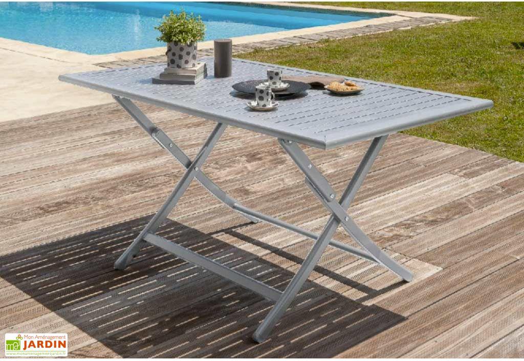 table de jardin pliante orlando en aluminium 140x80cm - Table De Jardin Pliante