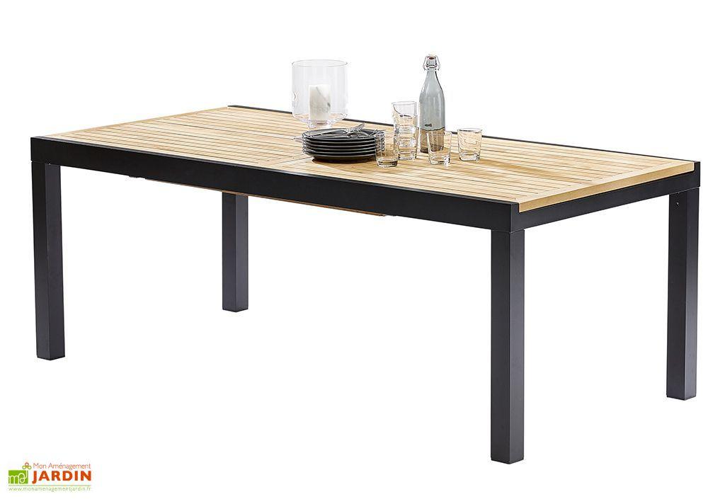 salon de jardin bali table extensible en alu et teck 8. Black Bedroom Furniture Sets. Home Design Ideas