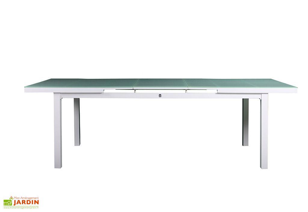 Table Jardin Extensible Aluminium et Verre Trempé Alga