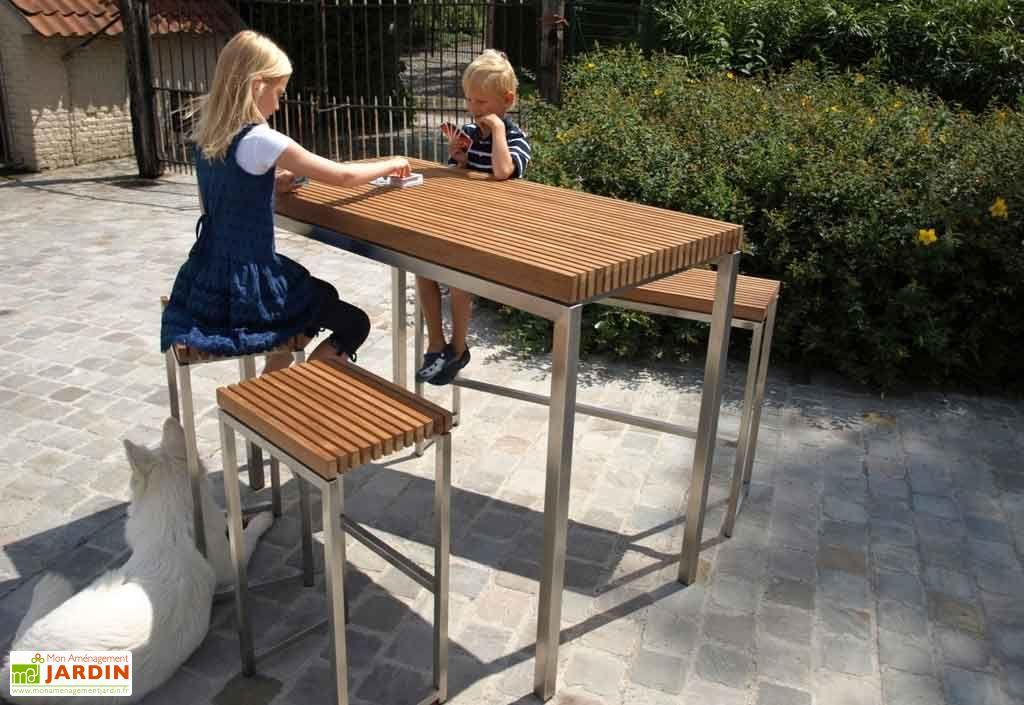 Salon de jardin bar teck et inox lechio salon de jardin for Meuble bar exterieur teck