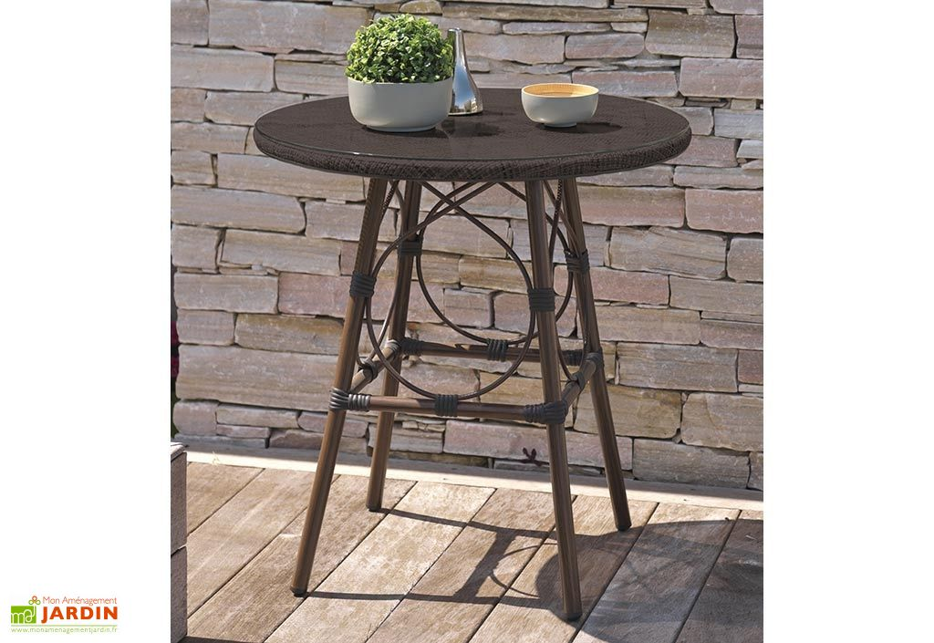 guéridon de jardin table en aluminium et plateau en verre