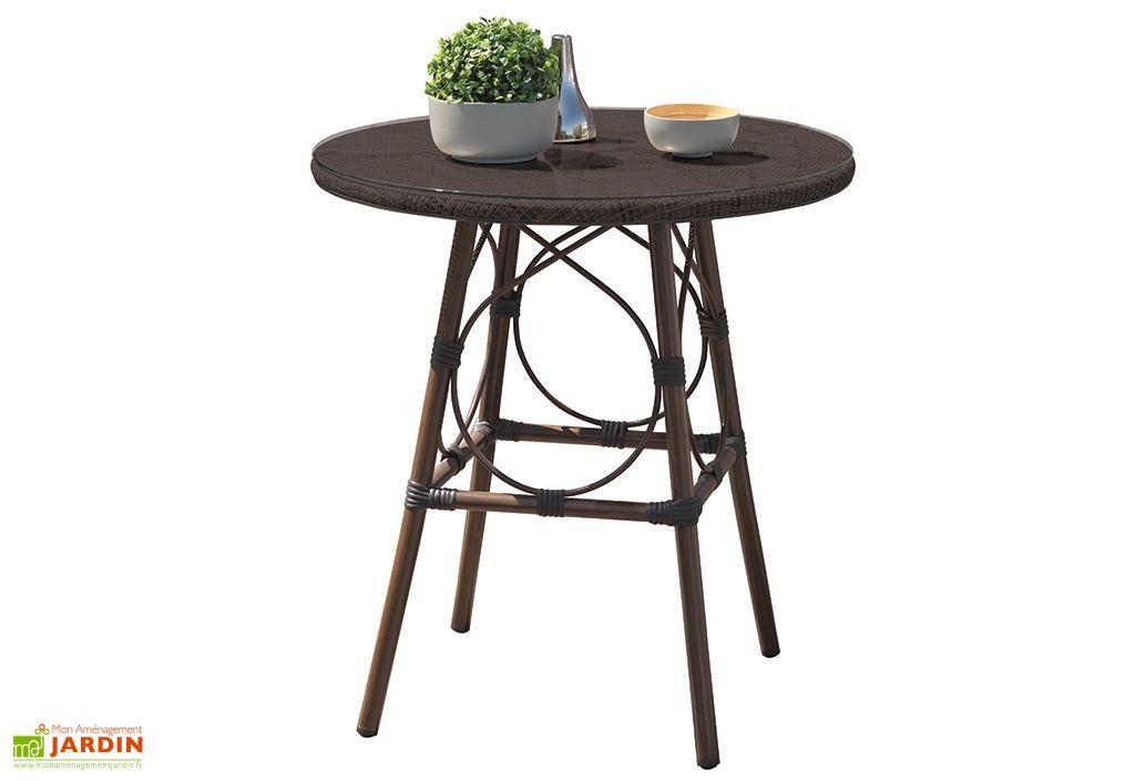 table de jardin guéridon marron imitation bambou en aluminium et verre 70 cm