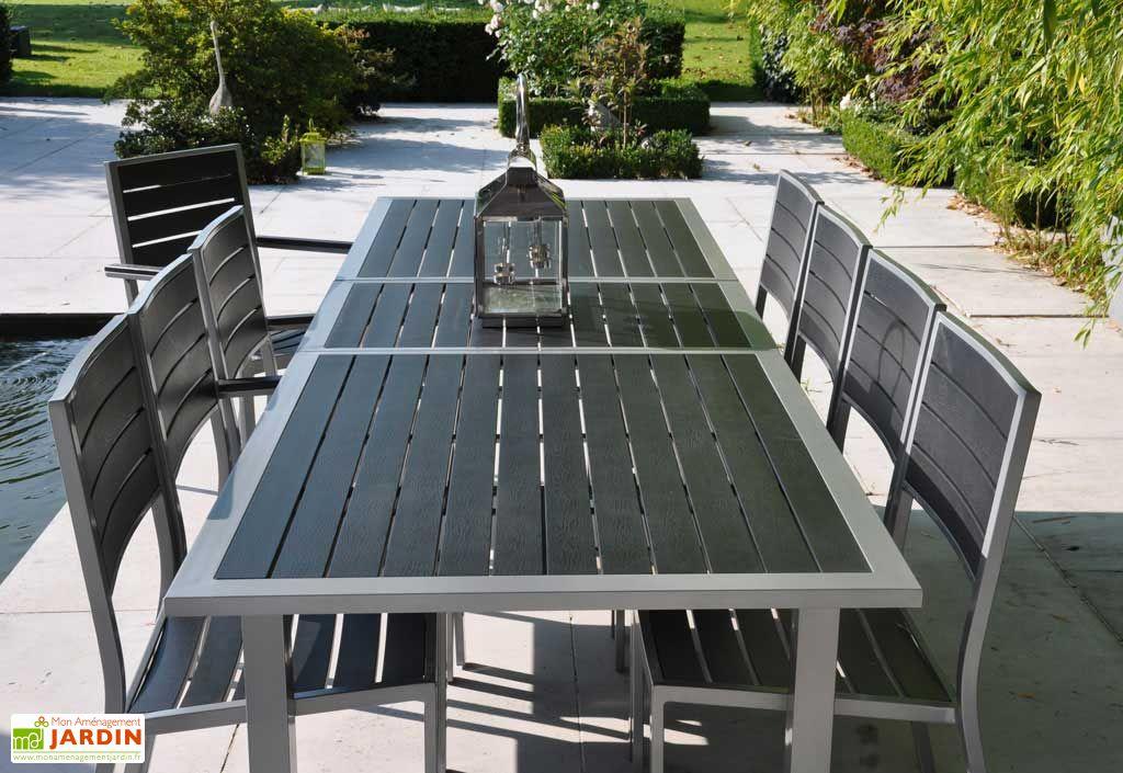 Salon de Jardin Biscarosse : Table + 8 Chaises