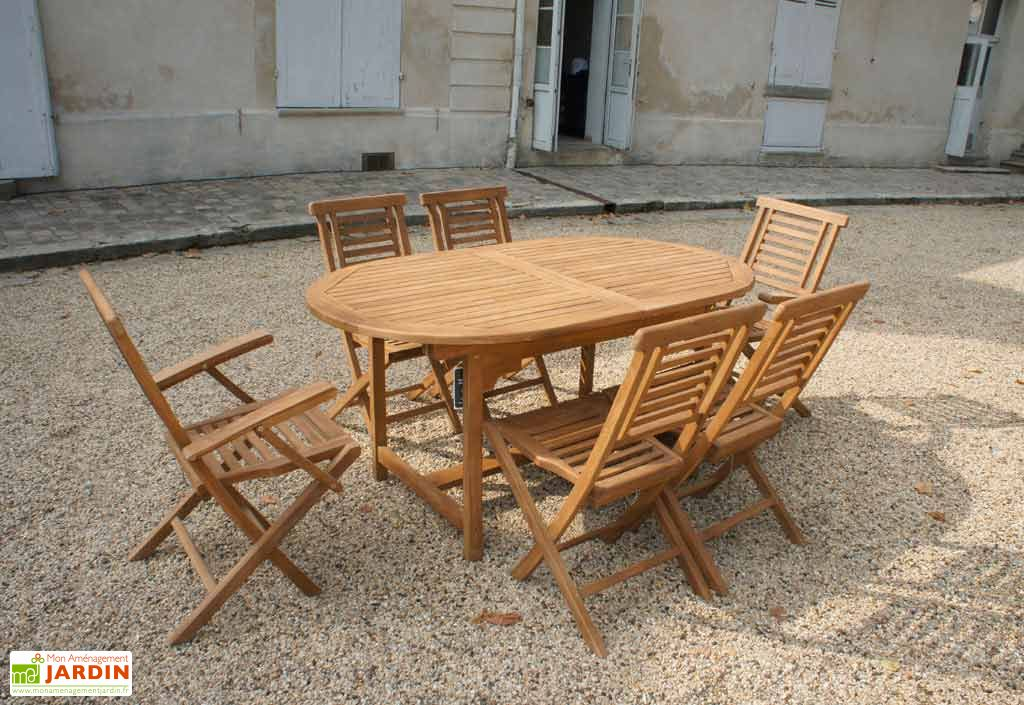 Table Teck Jakarta + 4 chaises + 2 fauteuils