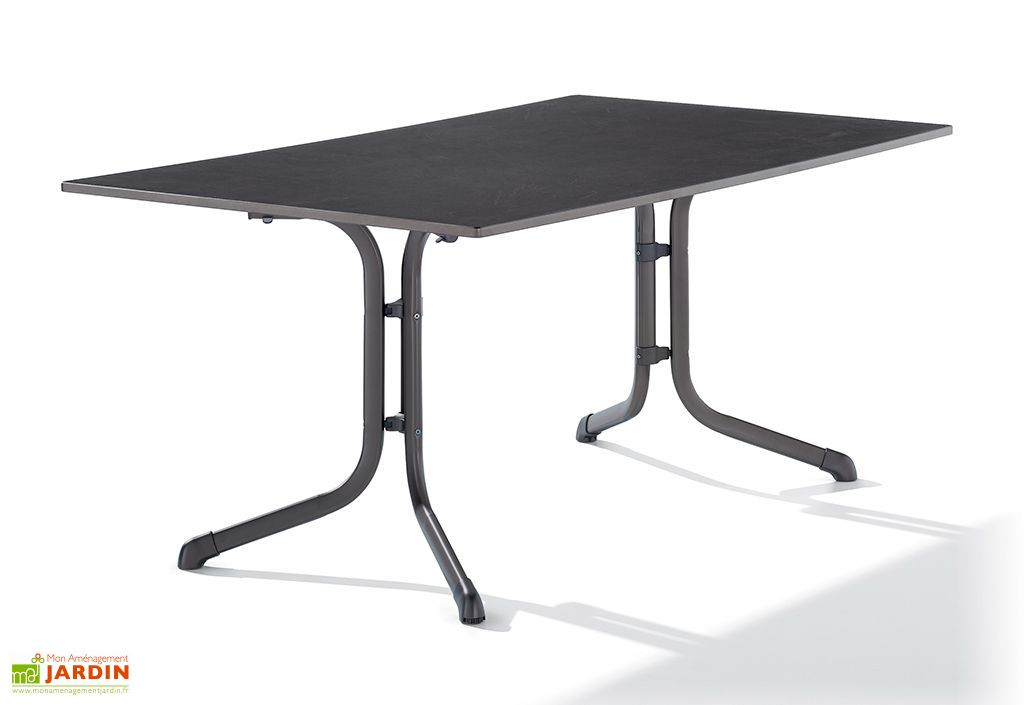 table de jardin pliante en puroplan anthracite pieds gris. Black Bedroom Furniture Sets. Home Design Ideas