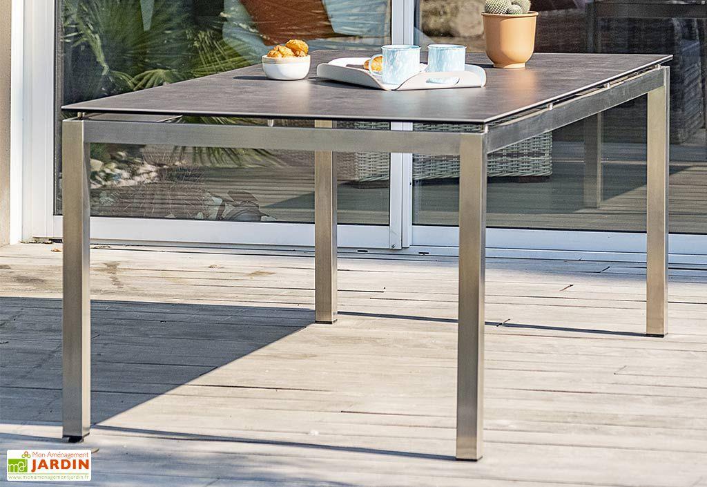 table de jardin en inox avec plateau ceramique 200 x 100 cm torino