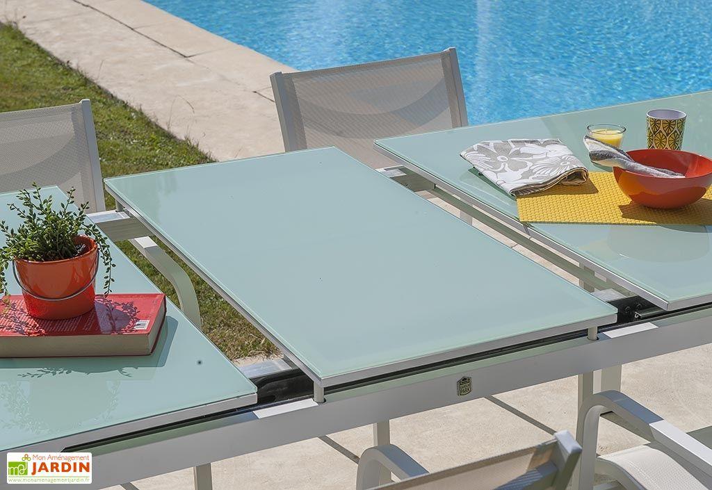 Table de Jardin avec Rallonge Mykonos Aluminium Verre – 180/240x100 ...