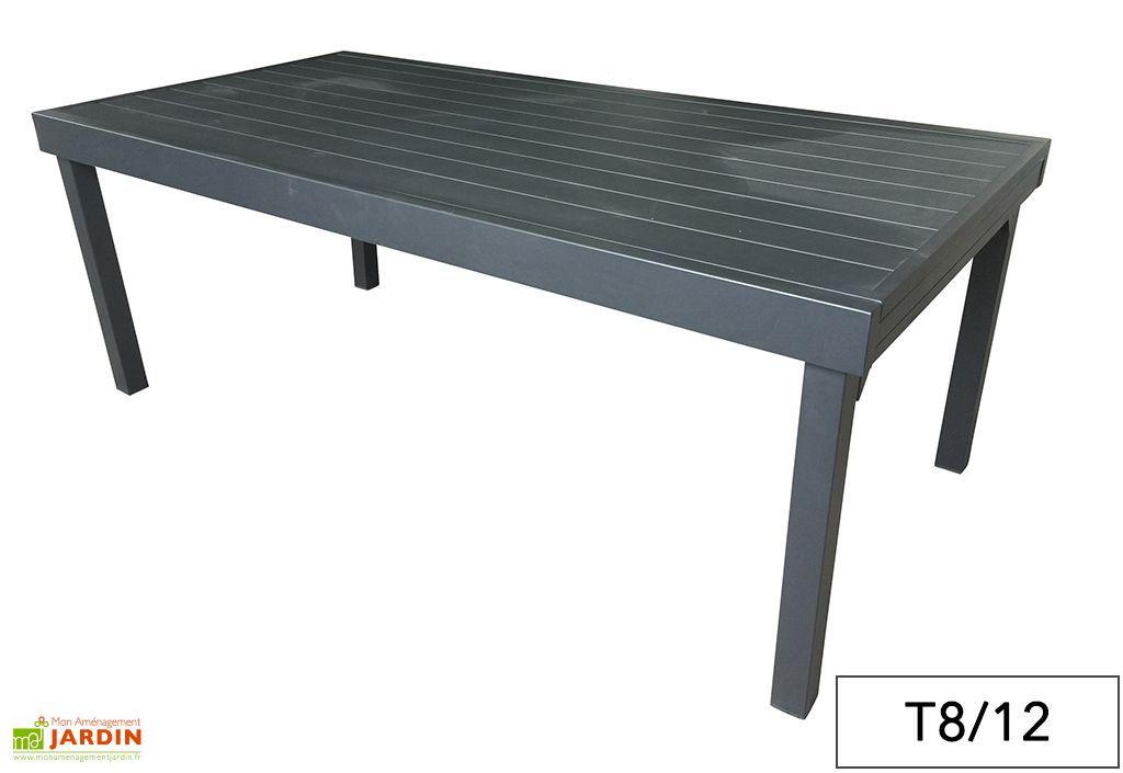 Table de jardin aluminium modulo gris anthracite pls dimensions wilsa - Table de jardin aluminium 12 personnes ...