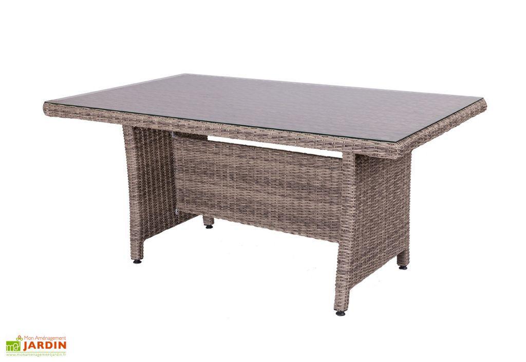 Table de jardin en aluminium, rotin et verre trempé Patsy