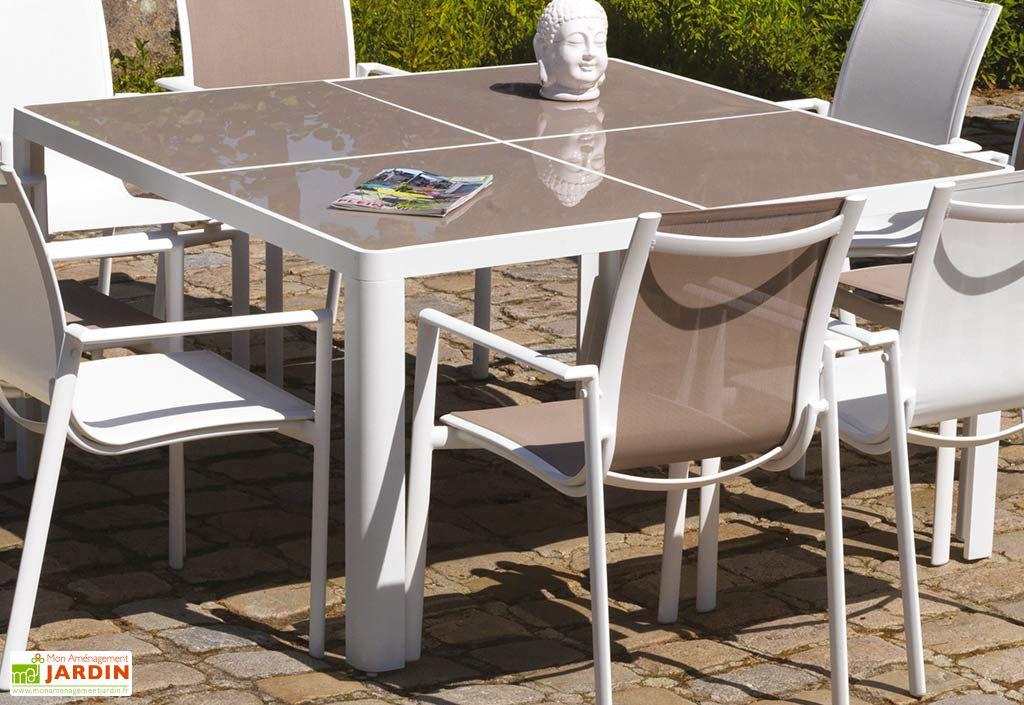 Beautiful table jardin aluminium fiero photos awesome for Table jardin aluminium