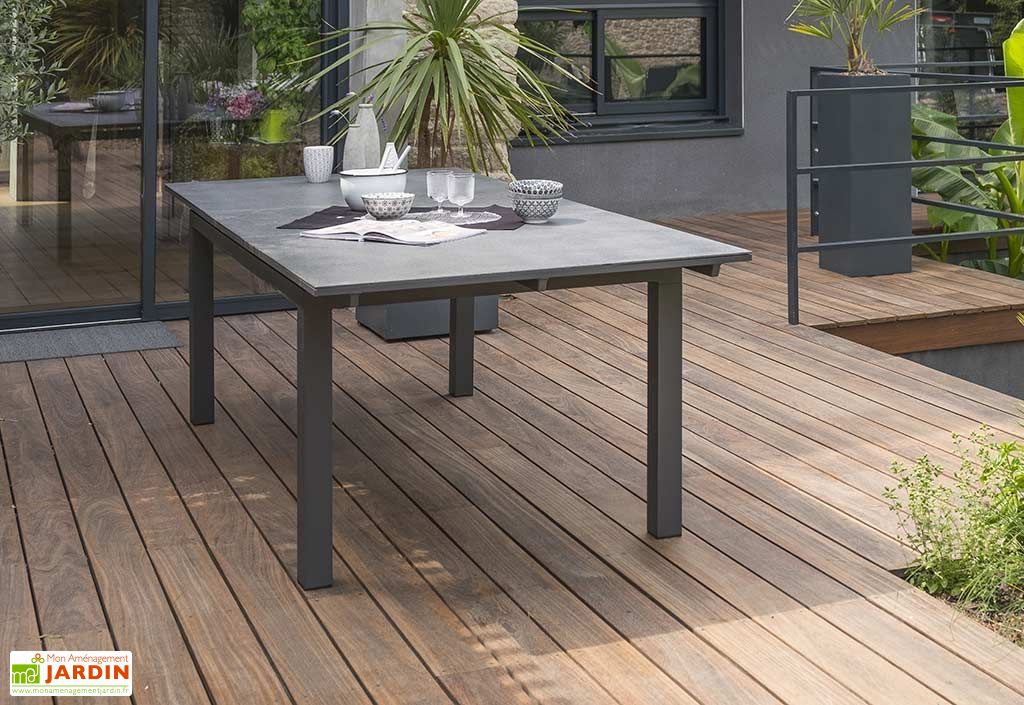 Table de Jardin avec Rallonge Miami Aluminium et Verre 180/240x100 ...